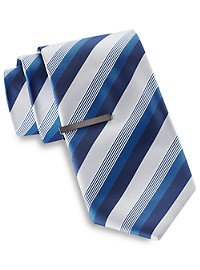 Gold Series Tonal Matte Stripe Tie with Tie Bar