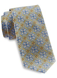 Gold Series Designed in Italy Large Repeating Floral Silk Tie