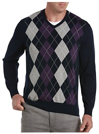 Harbor Bay V-Neck Argyle Pullover