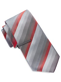 Gold Series Tonal Multi-Stripe Tie with Tie Bar