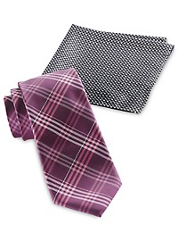 Synrgy Plaid Tie and Pocket Square Combo