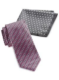 Synrgy Circle Geometric-Patterned Tie and Pocket Square Combo