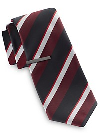 Gold Series Wide Multi Stripe Tie With Tie Bar