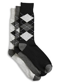 Harbor Bay 3-pk Argyle-Pattern Crew Socks