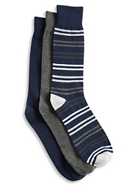 Harbor Bay 3-pk Stripe Crew Socks
