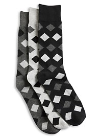 Harbor Bay 3-pk Opaque Diamond-Pattern Crew Socks