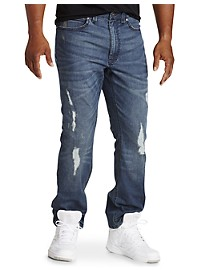 Society of One Straight-Fit Destructed Jeans
