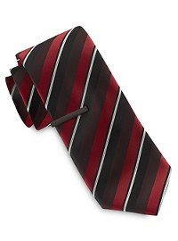 Gold Series Wide Triple Stripe Tie with Tie Bar