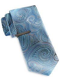 Gold Series Exploded Floral Paisley Tie with Tie Bar