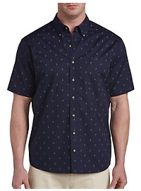 Harbor Bay Easy-Care Anchor Print Sport Shirt