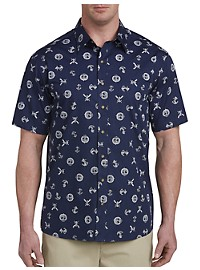 Harbor Bay Nautical Print Sport Shirt