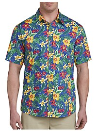 Harbor Bay Bright Floral Print Sport Shirt