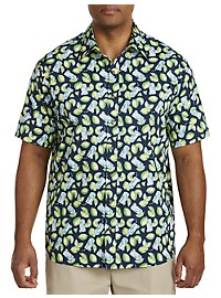 Harbor Bay Lime Floral Print Sport Shirt