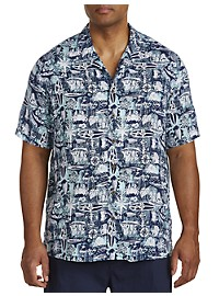 Island Passport Nautical Print Camp Shirt