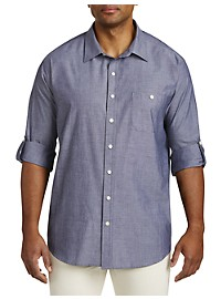 True Nation Roll-Sleeve Chambray Sport Shirt