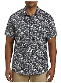 Twenty-Eight Degrees Boat & Palm Print Sport Shirt