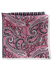 Rochester Paisley Stripe Dot Multi Silk Pocket Square