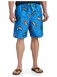Island Passport Turtle-Print Swim Trunks