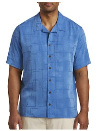 Island Passport Tonal Leaf Pattern Camp Shirt
