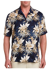 Island Passport Floral and Leaf Print Camp Shirt