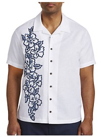 Island Passport Floral Print Panel Camp Shirt
