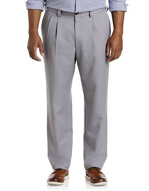 Oak Hill by DXL Big and Tall Pleated Premium Stretch Twill Pants