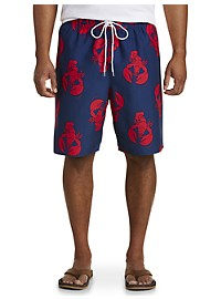 Island Passport Lobster-Print Swim Trunks