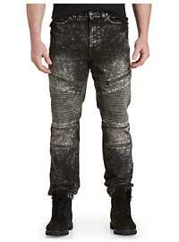 Society of One Acid Wash Moto Zippered Jeans