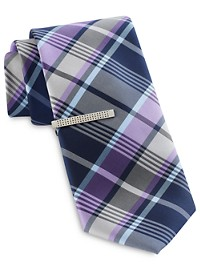 Gold Series Preppy Plaid Tie and Tie Bar
