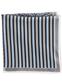 Rochester Stripe Neat Multi Silk Pocket Square