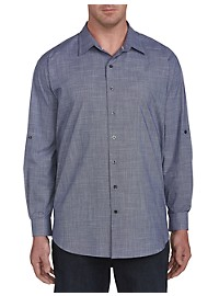 True Nation Chambray Roll-Sleeve Sport Shirt