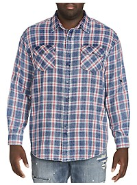 True Nation Roll-Sleeve Flannel Sport Shirt
