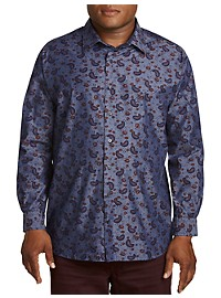 True Nation Chambray Roll-Sleeve Paisley Sport Shirt