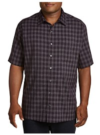 Harbor Bay Microfiber Plaid Stripe Sport Shirt