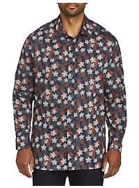 Twenty-Eight Degrees Sketch Leaf Print Sport Shirt
