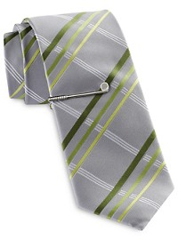 Gold Series Summer Plaid Tie with Tie Bar