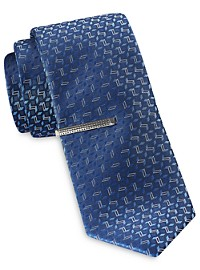 Gold Series Abstract Geometric Tie with Tie Bar