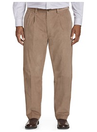 Oak Hill Pleated Straight-Fit Stretch Corduroy Pants