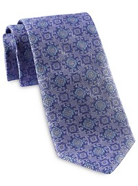 Rochester Designed in Italy Large Geo Medallion Silk Tie