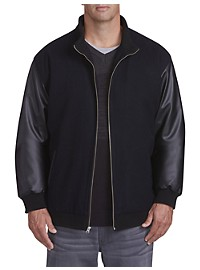 Synrgy Faux-Leather Sleeve Bomber Jacket