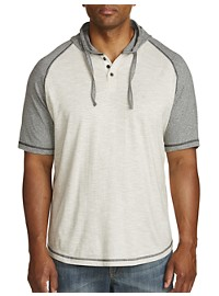 PX Clothing Raglan-Sleeve Hooded Henley