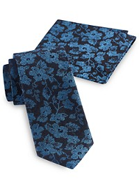 Synrgy Textured Floral Tie with Pocket Square