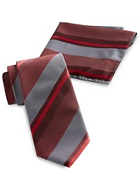 Synrgy Large Tonal Stripe Tie and Pocket Square
