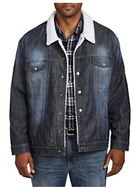 True Nation Stretch Denim Faux-Sherpa Jacket