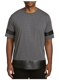 Society of One Faux-Leather Stripe-Sleeve T-Shirt