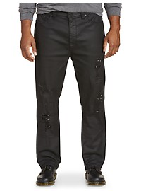 Society of One Ripped Waxed Athletic-Fit Stretch Jeans