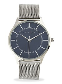 Synrgy Silver Mesh/Blue Dial Watch