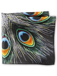 Rochester Peacock Feather Pocket Square
