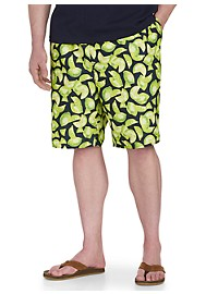Island Passport Lime-Print Swim Trunks