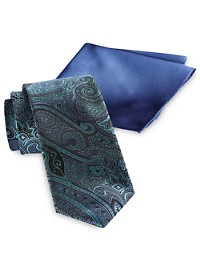 Synrgy Paisley Tie & Pocket Square